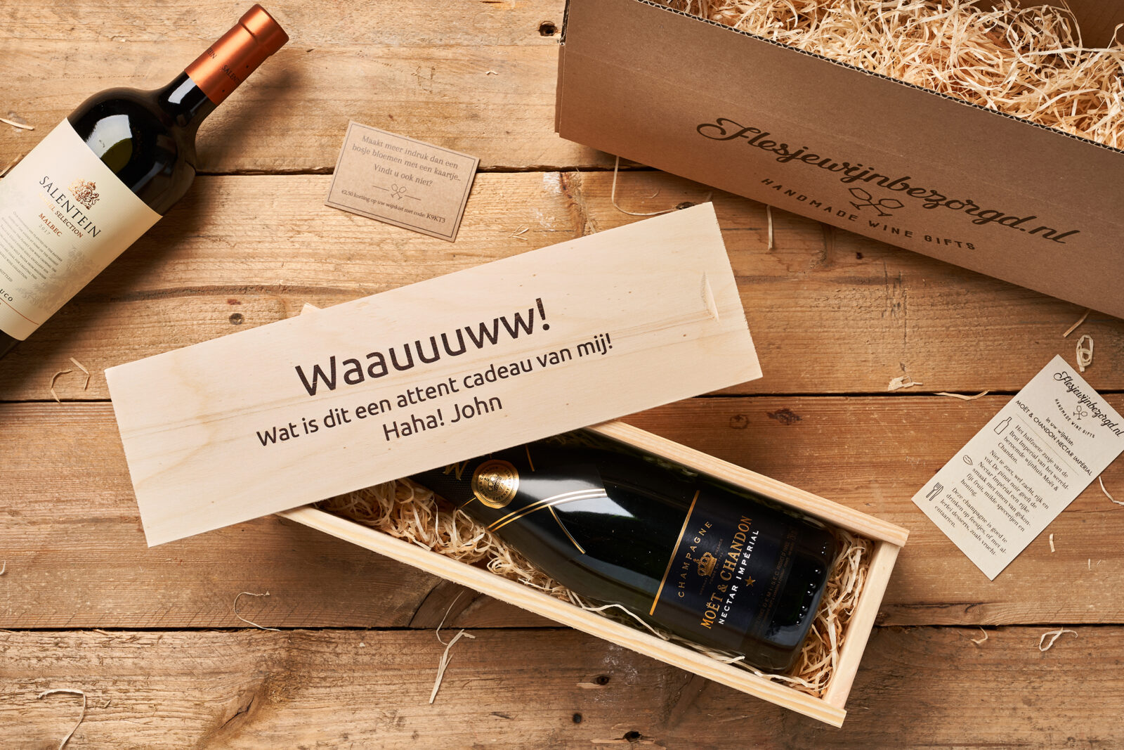 wijn in wijnkist cadeau Moët Chandon