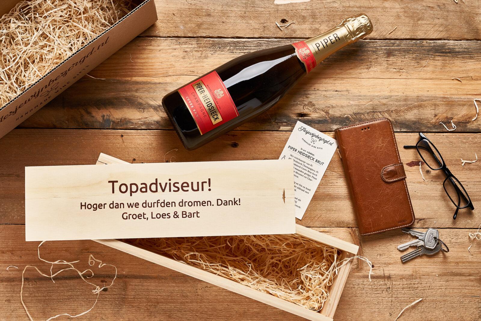 Wijn in wijnkist cadeau Piper Heidsieck